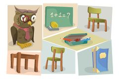 Illustration set for the Back to School theme Stock Images