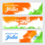 Illustration of set of banner and header for colorful India. Indian Independence Day concept background with Ashoka Stock Images