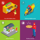 Illustration Set Banners with Italian Pizzeria, Mobile food truck, Car with Italian pizza, Perfect service, Delivery Royalty Free Stock Photos