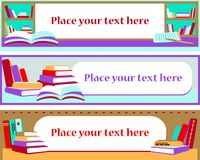 Banner with the library stacks, open book, notebook and pen royalty free illustration