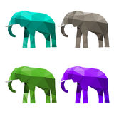 Illustration with set of blue, green, purple and grey colored abstract geometric polygonal triangular elephant isolated on white b Stock Image