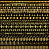 Illustration set of borders ornament of gold and  precious stone Royalty Free Stock Photos