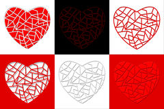 Illustration of a set of broken heart Stock Photos