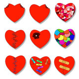 Illustration of a set of broken heart Stock Images