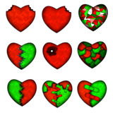 Illustration of a set of broken heart Royalty Free Stock Photography