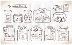 Illustration set of canned goods and tags. Royalty Free Stock Photo