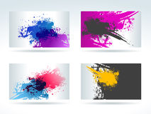 Set of cards with water colour stains Stock Photos