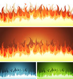 Blaze, Burning Fire And Flames Set. Illustration of a set of cartoon blaze fire elements and flames patterns or shapes burning, for hell, volcano background Royalty Free Stock Photo