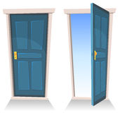 Doors, Closed And Open. Illustration of a set of cartoon front doors opened and closed with sky background, symbolizing death frontier, paradise or heavens gate