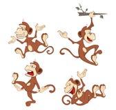 Illustration of a set cheerful monkeys. Cartoon Royalty Free Stock Photos