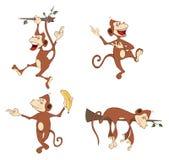 Illustration of a set cheerful monkeys. Cartoon Stock Photos