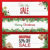 Set of christmas banners sale with fir branches and red christmas balls Stock Photos