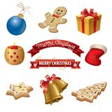 Christmas icons set. Illustration of set christmas icons, gifts and banners Royalty Free Stock Photo