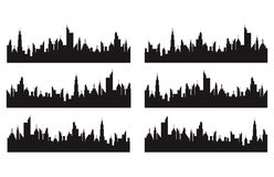 Set of cities silhouette stock illustration