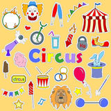 Illustration with Set of colored icons patches on the subject of performances in a circus. Set of colored icons patches on the subject of performances in a Stock Image