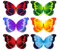 Illustration of set of colorful butterflies Stock Photography