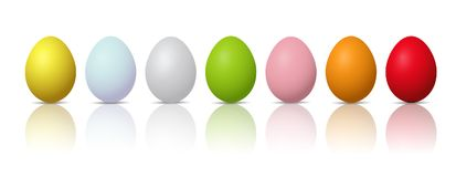Set of colorful easter eggs on a white background. Illustration of Set of colorful easter eggs on a white background Royalty Free Stock Images
