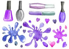 Illustration of a set of cosmetic nail polish and colored blots. Watercolor illustration of nail polish manicure and blots in pink, blue and purple tones vector illustration