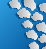 Set cut out clouds, blue paper Royalty Free Stock Photos