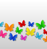 Set cut out colorful butterfly, grey paper Stock Image