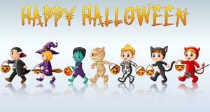 Set of cute cartoon children in Halloween costumes royalty free illustration