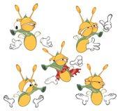 Illustration of a set of cute cartoon fireflies Stock Photo