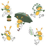 Illustration of a set of cute cartoon fireflies. Set of the various it is yellow green insects Royalty Free Stock Photo