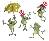 Illustration of a set of cute cartoon green frog Royalty Free Stock Photo