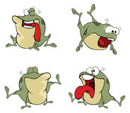 Illustration of a set of cute cartoon green frogs Stock Image