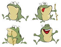 Illustration of a set of cute cartoon green frogs Royalty Free Stock Image