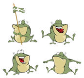 Illustration of a set of cute cartoon green frogs. Set of various ridiculous green frogs Royalty Free Stock Photo