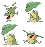 Illustration of a set of cute cartoon green frogs Royalty Free Stock Photos