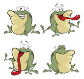 illustration of a set of cute cartoon green frogset Royalty Free Stock Image
