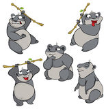Illustration of a set of cute cartoon pandas Royalty Free Stock Photography