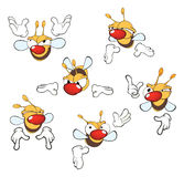 Illustration of a set of cute cartoon yellow bees Stock Photography
