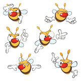Illustration of a set of cute cartoon yellow bees. Set of various small bees Royalty Free Stock Images