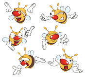 Illustration of a set of cute cartoon yellow bees. Set of various small bees Stock Photo