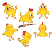 Illustration of  set of cute cartoon yellow chick Stock Photos