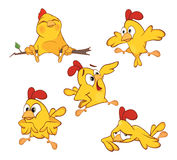 Illustration of a set of cute cartoon yellow chickens. Set of various small yellow chickens Stock Images
