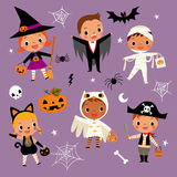 Illustration set of cute happy cartoon children in colorful hall. Oween costumes.witch, vampire, cat,owl, dracula, pirate, mummy, pumpkin, spider Royalty Free Stock Photos