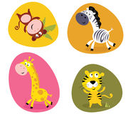 Illustration set of cute safari animals. Vector cartoon illustration of monkey, tiger, giraffe and zebra Royalty Free Stock Photo