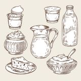 Illustration of a set of dairy products in the style of engraving. Black and white bottle and milk jug, sour cream, yogurt, cottage cheese, curd, cheese Stock Photo