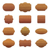 Illustration set of different shapes with wooden texture. Empty vector banners with place for your text Stock Image