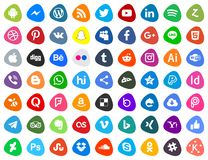 Social media icons. An illustration of a set of different social media icons on a white background stock illustration