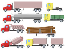Illustration of set of different trucks Royalty Free Stock Photos