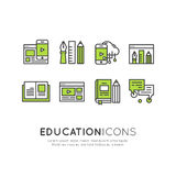 Illustration Set of E-learning devices and services royalty free illustration