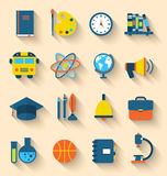 Illustration Set of Education Flat Colorful Icons Royalty Free Stock Image