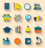 Illustration Set of Education Flat Colorful Icons Royalty Free Stock Image