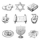 Illustration set of element for hanukkah Royalty Free Stock Photography