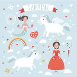 Illustration set  of fairytale characters Stock Photos